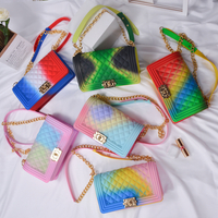 Fashion rainbow chain bags lady colorful handbags purse handbags for women